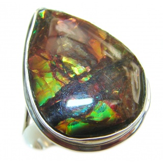 Genuine Canadian Ammolite .925 Sterling Silver handmade ring size 7 adjustable