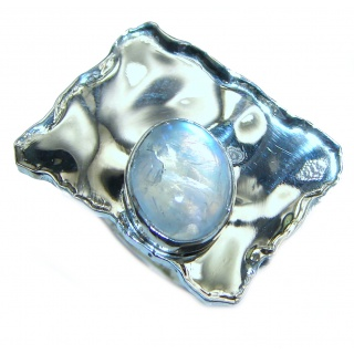 Fire Moonstone .925 Sterling Silver handmade Ring size 6 1/4