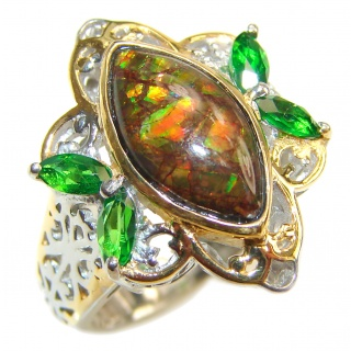 Pure Energy Genuine Canadian Ammolite 18K Gold over .925 Sterling Silver handmade ring size 7