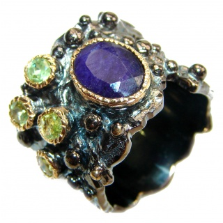 Secret Beauty Sapphire black rhodium over .925 Sterling Silver handcrafted ring size 6