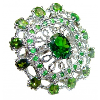 Huge Natural Chrome Diopside .925 Sterling Silver Statement ring size 7 3/4