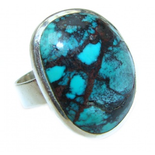 Authentic Turquoise .925 Sterling Silver handcrafted ring; s. 8 1/4