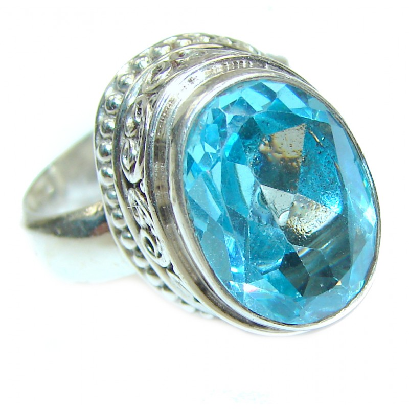 Swiss Blue Topaz .925 Sterling Silver handmade Cocktail Ring size 7