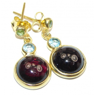 Authentic Garnet 18k Gold over .925 Sterling Silver handmade earrings