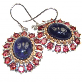 Blooming Garden Sapphire Garnet 18K Gold over .925 over Sterling Silver earrings