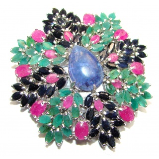 Vintage style Beauty genuine Sapphire Emerald Ruby .925 Sterling Silver handmade LARGE Pendant - Brooch