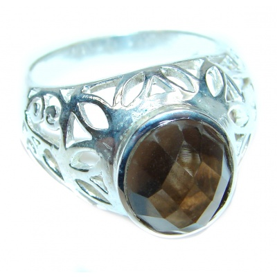 Champagne Smoky Topaz .925 Sterling Silver Ring size 8 3/4