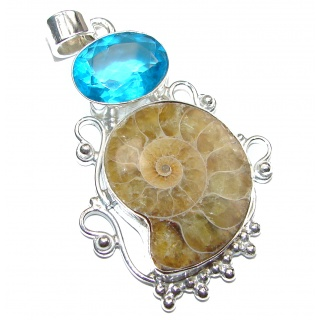Back to Nature Brown Ammonite Fossil .925 Sterling Silver handmade Pendant