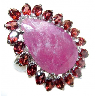 Large Genuine 20ctw Ruby .925 Sterling Silver handcrafted Statement Ring size 7 1/4