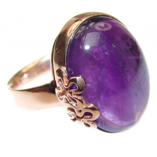 Spectacular genuine Amethyst 14K Gold over .925 Sterling Silver handcrafted Ring size 8 adjustable