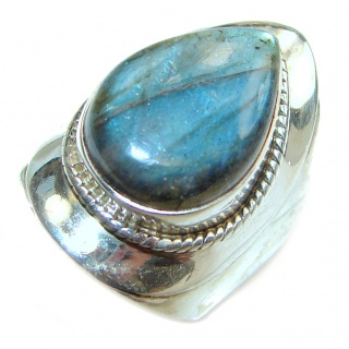 Genuine Labradorite .925 Sterling Silver handmade Cocktail Ring s. 7 1/4