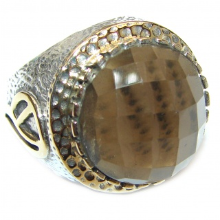Huge Champagne Smoky Topaz .925 Sterling Silver Ring size 8 1/4