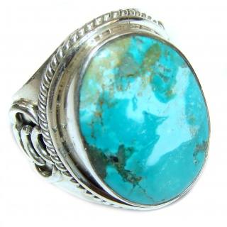 Large genuine Turquoise .925 Sterling Silver ring; s. 7