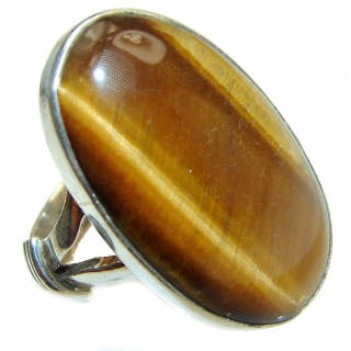 Bold Silky Golden Tigers Eye .925 Sterling Silver handmade ring s. 8 1/4