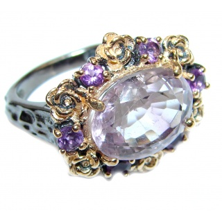 Spectacular genuine Pink Amethyst .925 Sterling Silver handcrafted Ring size 8