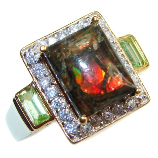 Genuine Canadian Ammolite 18K Gold over .925 Sterling Silver handmade ring size 7