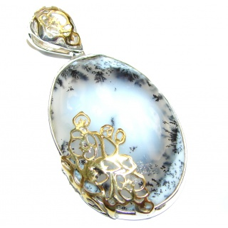 Perfect quality Dendritic Agate 18K Gold .925 Sterling Silver handmade Pendant