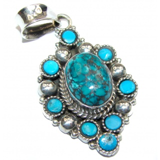Exquisite Turquoise .925 Sterling Silver handmade Pendant