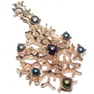 Prosperity and Fortune Black Pearls .925 Sterling Silver Handcrafted pendant