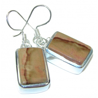Bohemian Style Picture Jasper .925 Sterling Silver handcrafted earrings