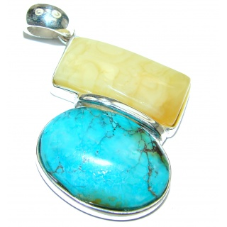 Large Exquisite authentic Turquoise Butterscotch Amber .925 Sterling Silver handmade Pendant