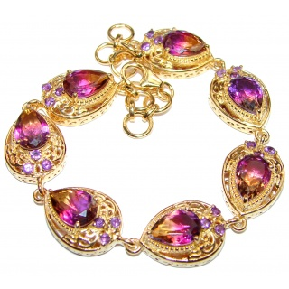 Spectacular Bi-Color Ametrine 18K Gold over .925 Sterling Silver handcrafted BRACELET