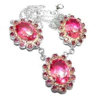 Oval cut Pink Tourmaline color Topaz 18K Gold over .925 Sterling Silver handcrafted necklace