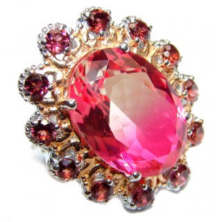 HUGE Top Quality Magic Volcanic Pink Topaz 18K Gold over .925 Sterling Silver handcrafted Ring s. 7 1/2