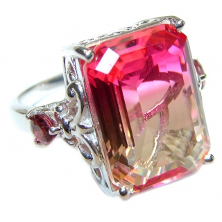 Genuine 25ct Pink Tourmaline color Topaz .925 Sterling Silver handcrafted ring; s. 8 3/4