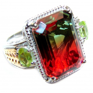 HUGE emerald cut Volcanic Tourmaline Topaz .925 Sterling Silver handcrafted Ring s. 7 3/4
