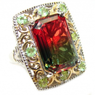 HUGE Emerald cut Watermelon Tourmaline color Topaz 18k Gold over .925 Sterling Silver handcrafted Ring s. 7