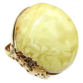 Real Beauty Butterscotch Baltic Amber 14K Gold over .925 Sterling Silver handmade Ring size 7 adjustable