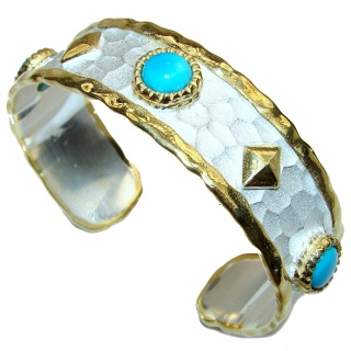 Bracelet with Sleeping Beauty Turquoise 24K Gold .925 Sterling Silver in Antique White Patina