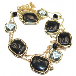 Gold over Sterling Silver Onyx Smoky Topaz 38 inches Long Station Necklace
