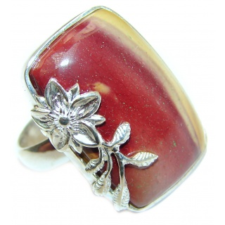 Huge Boho style Mookaite .925 Sterling Silver handmade ring size 8