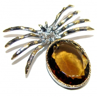 Incredible Spider Smoky Topaz 14k Gold over .925 Sterling Silver handmade Pendant