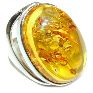 Genuine Baltic Amber .925 Sterling Silver handmade Ring size 8 adjustable