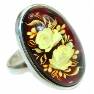 Beautiful Authentic carved Baltic Amber .925 Sterling Silver handcrafted ring; s. 7 adjustable