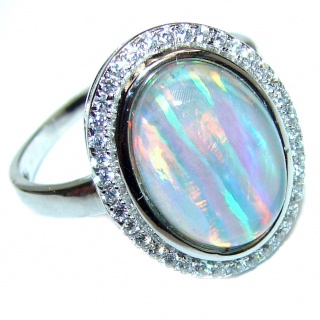 Australian Triplet Opal .925 Sterling Silver handcrafted ring size 8 3/4