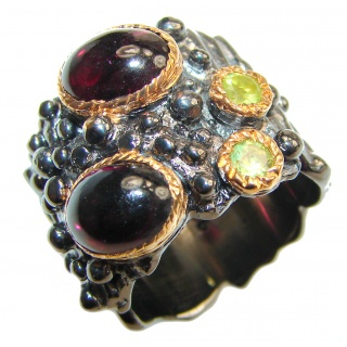 Genuine Garnet 22ct Gold Rhodium over .925 Sterling Silver handmade Cocktail Ring s. 6