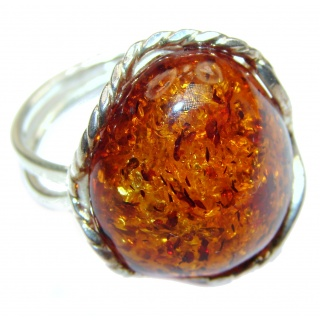 Genuine Baltic Amber .925 Sterling Silver handmade Ring size 7 adjustable