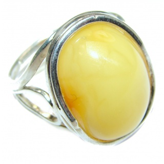 Genuine Butterscotch Baltic Amber .925 Sterling Silver handmade Ring size 8 adjustable