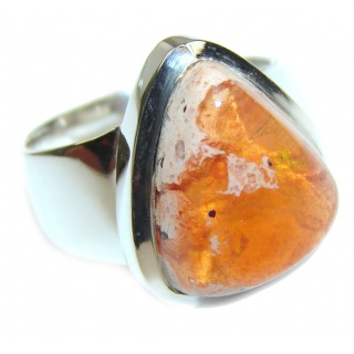 Pure Perfection Genuine Mexican Opal .925 Sterling Silver handmade Ring size 6