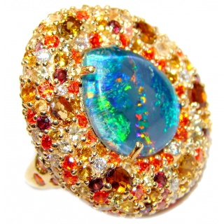Australian Doublet Opal 24K Gold over .925 Sterling Silver handcrafted ring size 7 1/4