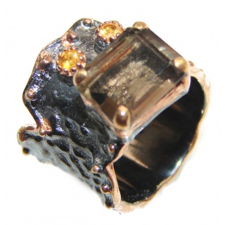 Champagne Smoky Topaz 14K Gold over .925 Sterling Silver Ring size 5 1/4