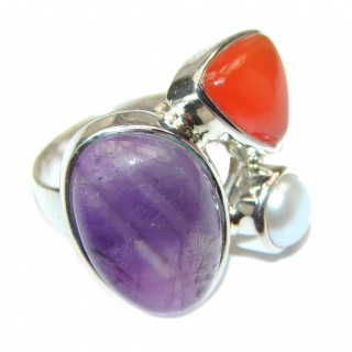 Spectacular Natural Amethyst .925 Sterling Silver handcrafted ring size 6 adjustable