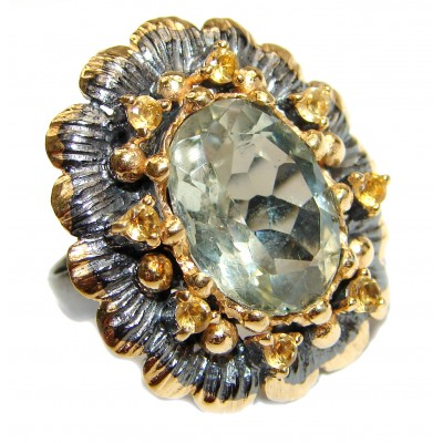 Huge Green Amethyst 14K Gold over .925 Sterling Silver handcrafted ring; s. 8