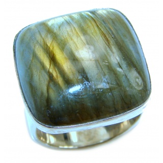 Genuine Labradorite .925 Sterling Silver handmade Cocktail Ring s. 7