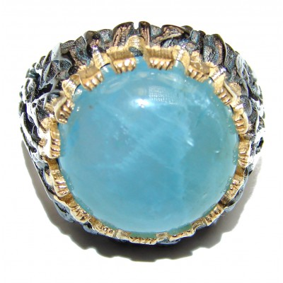 Genuine Aquamarine 14K Gold over .925 Sterling Silver handmade Cocktail Ring s. 7 1/4