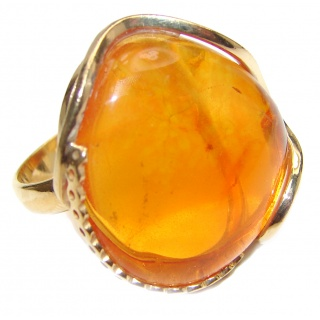 LARGE Genuine Baltic Amber 18K Gold over .925 Sterling Silver handmade Ring size 8 adjustable